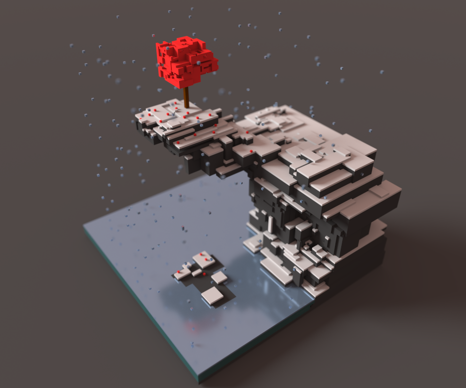 Snowy Cliff Voxel Model