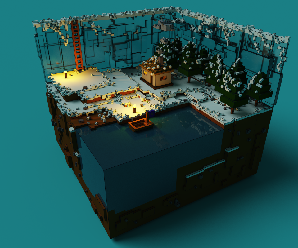 Ice Lake Voxel Model Full Scene