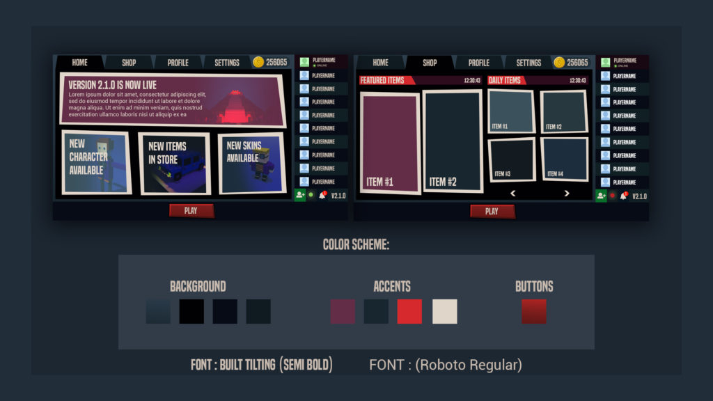 PC Game UI Design Color Scheme