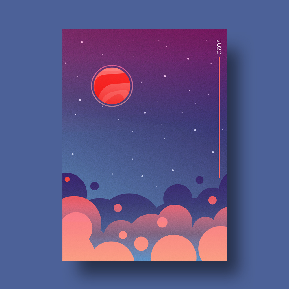 Space Planets Poster Illustration
