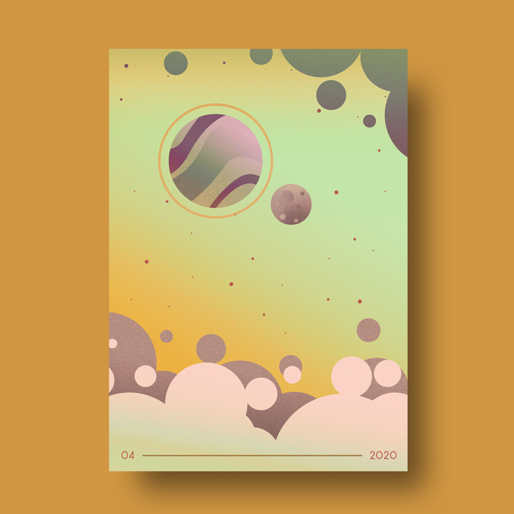 Gold Themed Minimal Space Illustration