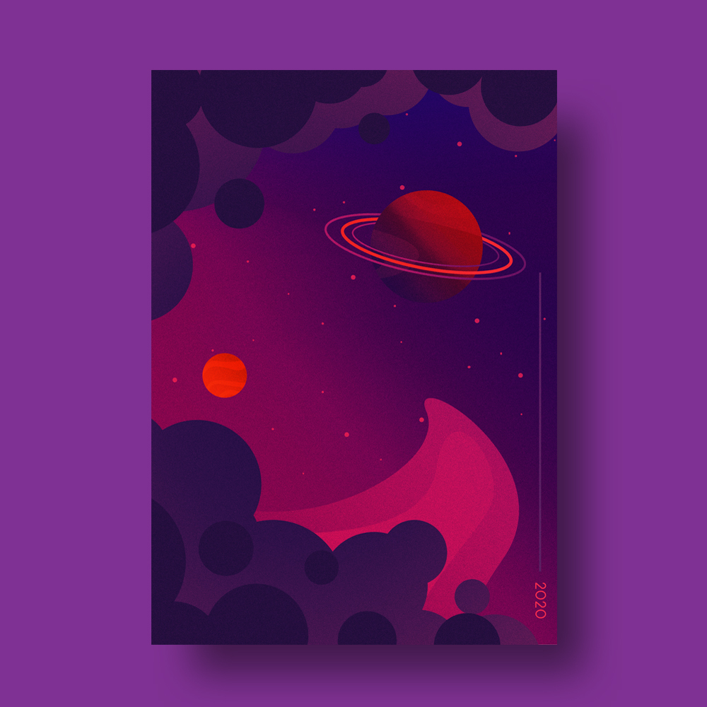 Dark Space Minimal Illustration