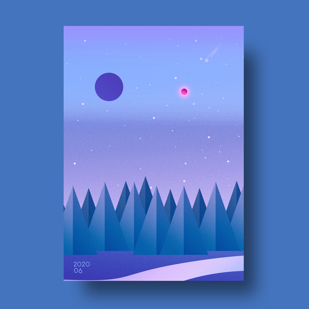 Minimal Illustrated Shooting Star Poster