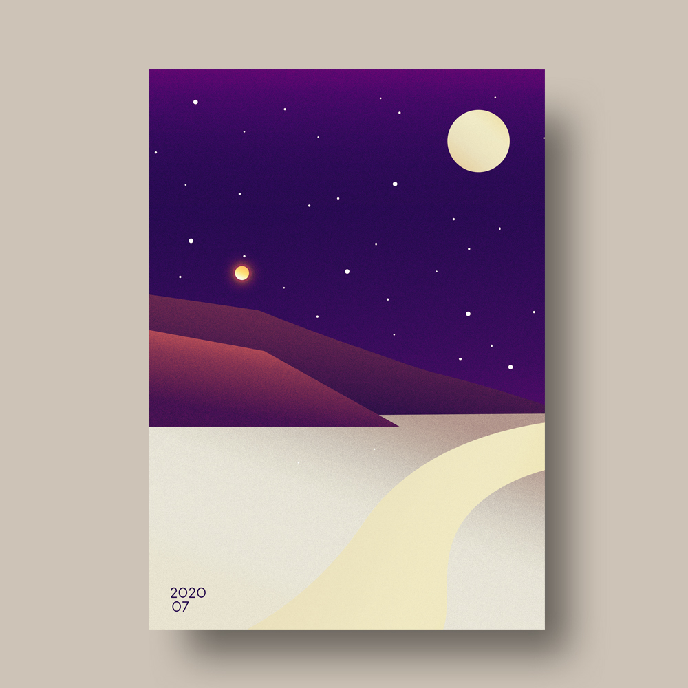 Gold Toned Minimal Illustrated Mountain Poster