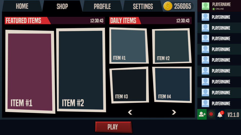 Battle Royale FPS Store UI Design