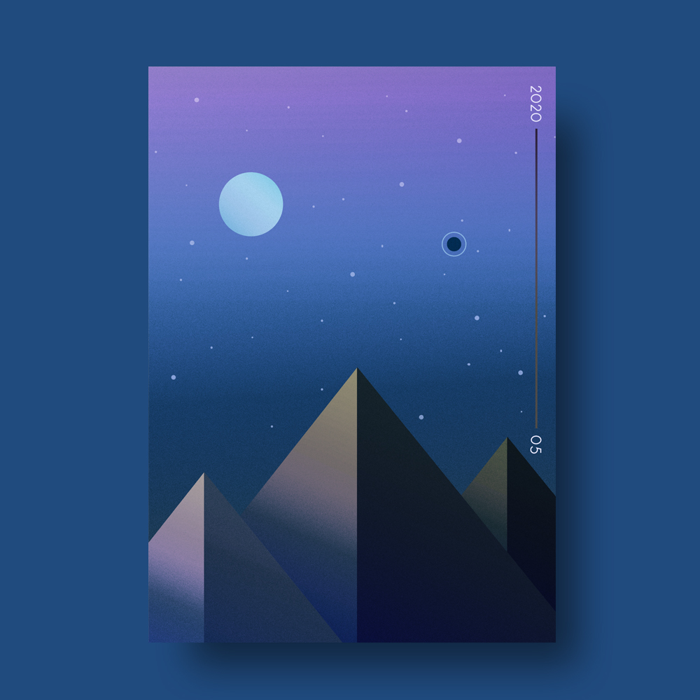 Illustrated Mountains At Night Poster